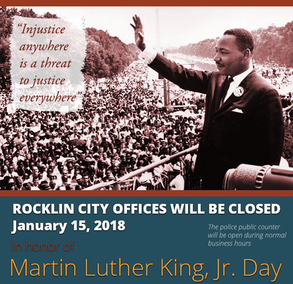 City offices will be closed January 15, 2018 for Martin Luther King, Jr Day
